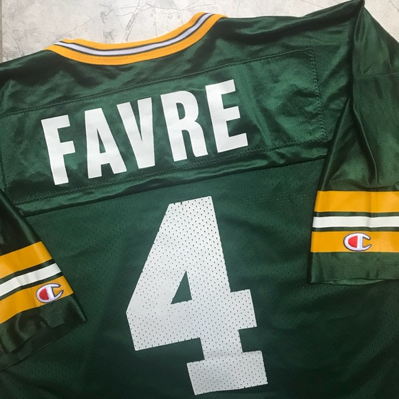752ae5a2125 Vintage Green Bay Packers Favre #4 Champion Jersey.  M_5b737bc3d6716a00b254e0ff